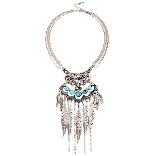 LUFA Weinlese-böhmische Gypsy Perlen Blatt Troddel-Kragen-hängende Halskette Splitter&40+5CM