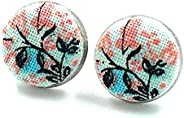 Handmade in Canada - Floral Fabric Stud Earrings - Women's Small Surgical Stainless Steel Studs - Hypoalle