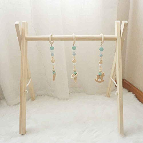 Cynzia Baby Foldable Wooden Play Gym with 3 Theething Gym Toys Frame Activity Gym Natural Hanging Bar Newborn Gift Baby Girl and Boy Gym (Green)