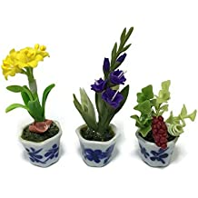 3pc Miniature Flower Clay Dollhouse Fairy Garden Mini Plant Trees Ceramic Paint Furniture Bundles Artificial Flowers Tiny Orchid #059