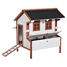 """PawHut 43""""L x 36"""" x 50"""" Elevated Waterproof Wood Chicken Coop Backyard Poultry House With Nesting Box, Beige"""