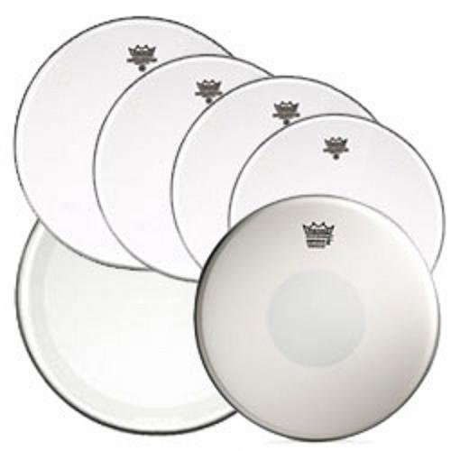 """Remo Clear Emperor Standard Sizes Drum Head Pre Pack (with 14"""" Emperor X Snare Drum Head and 22"""" Clear Powerstroke 4 Bass Drum Head)"""