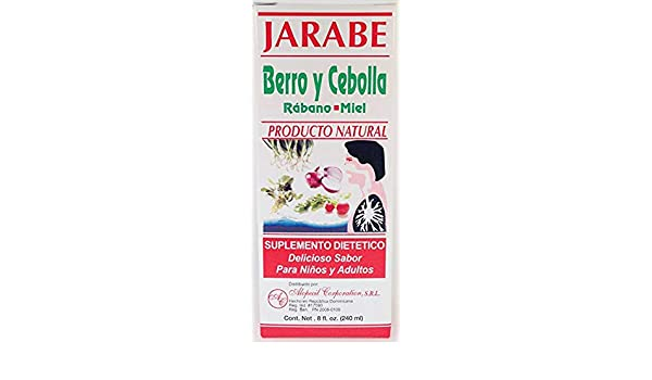 Amazon.com: Jarabe Berro y Cebolla Rabano-Miel 8 Oz. Watercress and Onion Radish-Honey Syrup 3pcs with Free scentsy Odor Circle.: Health & Personal Care