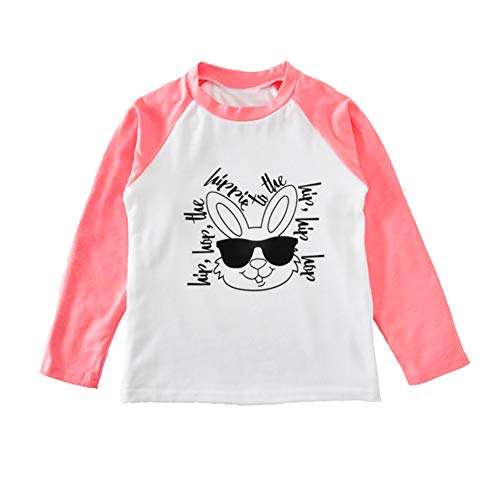 Toddler Infant Baby Girls Boys Long Sleeve Hip Hop Letters Easter Bunny Tees Shirt Blouse Tops (110(3T), Pink)