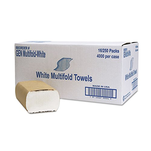 General Supply MULTIFOLDWH Multifold Towel, 1-Ply, White, 250/Pack, 16 Packs/Carton