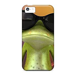 Tough Iphone IKe37215LZTB Cases Covers/ Cases For Iphone 5c(wear Sunglasses Frog)