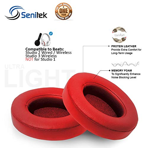 Studio 2 Memory Foam Ear Pads - Protein Leather Replacement Parts Ear Cushion Cover Earpads Ear Cups for Beats Studio 2.0 Wired/Studio 2.0 Wireless B0500 / B0501 Headphone - Red