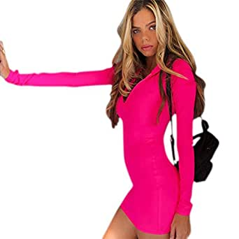 C.C-US Women Neon Long Sleeve Bodycon Mini Dress High Neck Slim Fit Party Dress with Thumb Hole - Pink - Small