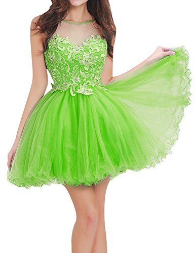 JAEDEN Homecoming Dresses Short Lace Cocktail Party Dress Tulle Prom Dress Open Back Sweetheart Lime Green