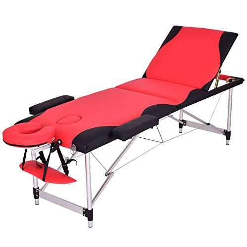 Red And Black 72''L Portable Massage Table Heavy Duty Aluminum Frame Salon SPA Chair Beauty Height Adjustable Foldable Table Tattoo Parlor Facial Bed Multi Purpose Professional Home Therapy