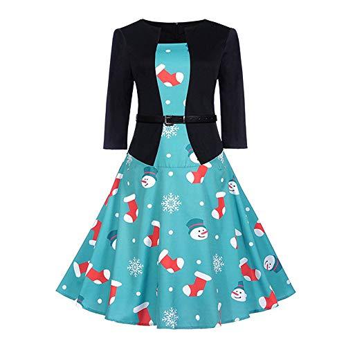 Women Vintage 1950s Retro Rockabilly Prom Dresses Cap-Sleeve AmyDong 3/4 Sleeve Christmas Swing Dress(Blue,L)