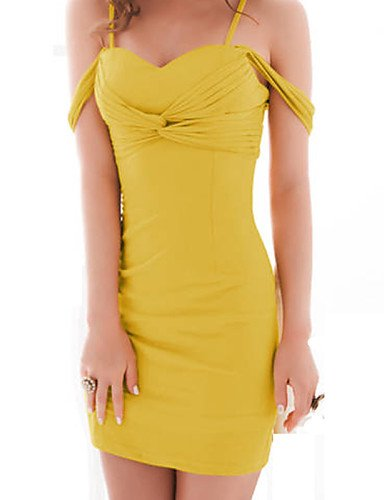 PU&PU Robe Aux femmes Gaine Street Chic,Couleur Pleine A Bretelles Mini Coton , yellow-l , yellow-l