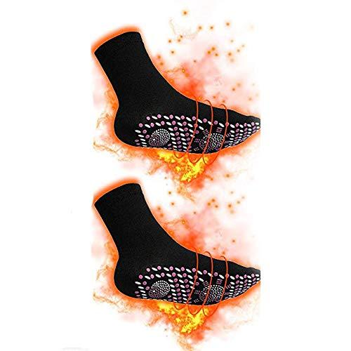 Queta Thermosocken Beheizbare Socken Winter Socken Magnetsocken Turmalinsocken Winter Socken Fu/ßw/ärmer Schuhheizung Fu/ßheizung Winter Heizsocken f/ür Damen Herren Schwarz Eine Gr/ö/ße