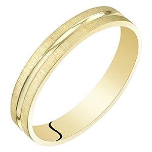 Womens 14K Yellow Gold 3mm Wedding Anniversary Ring Band Dual Finish Sizes 4 to 9