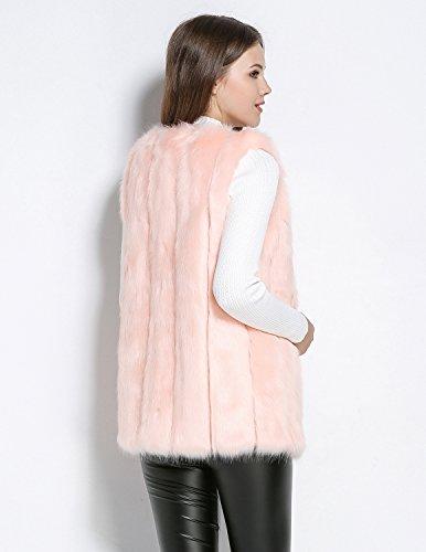 Invierno Mujeres Otoño Rosa Cardigans Piel Sintética Vest Tops Chaqueta Pelaje Mangas Abrigo Sin Faux CARINACOCO Chaleco Largo de 6d6Oq