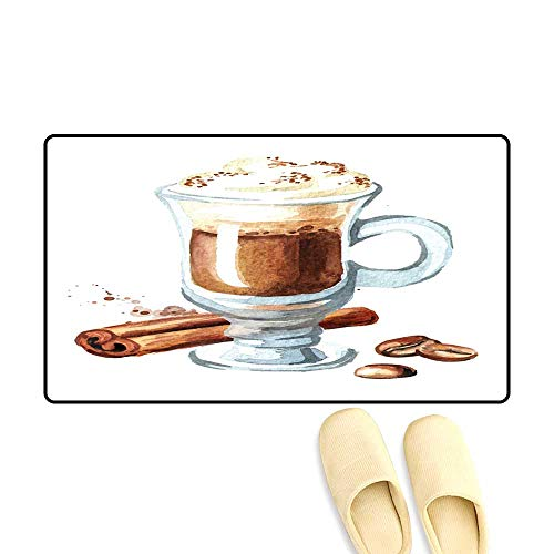 High Water Absorption Door mat Traditional Irish Cream Coffee wi Cinnamon an Coffee Beans Watercolor han Drawn Illustration Isolate on White Background