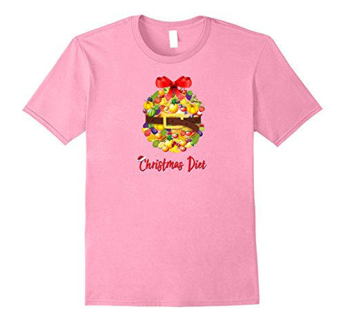 Mens Christmas Diet T-Shirt - Funny Fruit Basket X-Mas Shirt 2XL Pink