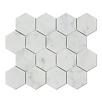 Carrara White Italian Carrera Marble Hexagon Mosaic Tile 3 inch Polished by Stone Center Online