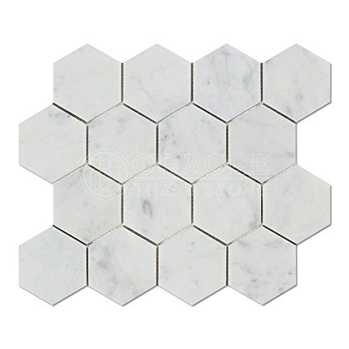 Marble Italian Column - Carrara White Italian Carrera Marble Hexagon Mosaic Tile 3 inch Polished
