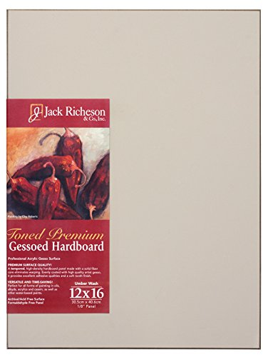 Jack Richeson 1711216 Richeson Umber Wash Toned Gessoed 1/8'' Hardboard 12''x16'' by Jack Richeson