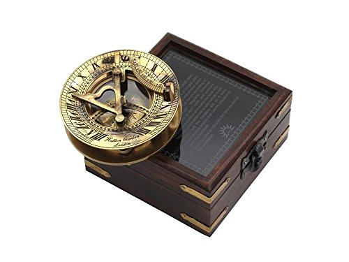 ShalinIndia Brass Sundial and Compass – Antique Inspired Design – Glass Lid Handmade Wood Storage Box Included – Travel Accessories