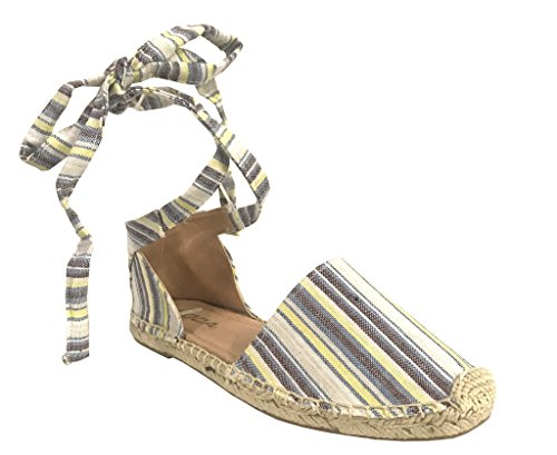 Stripe Espadrille Sandal (Soda Layout Women's Wrap Around Lace-up Espadrilles Sandals, Multi Stripe Fabric 7.5 M US)