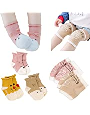 Baby Crawling Anti-Slip Knee and Anti Slip Baby Boys Girls Socks Best Infant Gift, Unisex Baby Toddlers Kneepads 3 Pairs, Soft Cotton Assorted Boys Girls Grip Walkers Socks 3 Pairs