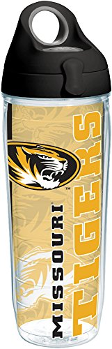 Tervis 1215219 Missouri Tigers College Pride Tumbler with Wrap and Black with Gray Lid 24oz Water Bottle, Clear ()