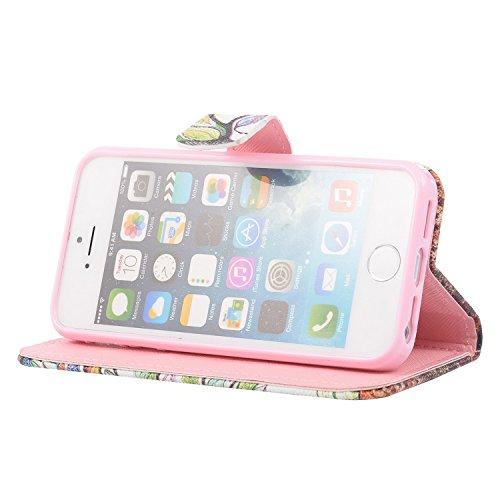 MOONCASE iPhone 5 Case Printing Series Leder Tasche Flip Schutzhülle Etui Case Cover Hülle Schale für Apple iPhone 5 / 5S XC08