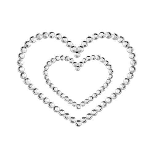 Bijoux Indiscrets Mimi Heart Silver Pasties Skin Jewelry Reusable Lingerie Gift by Bijoux Indiscrets