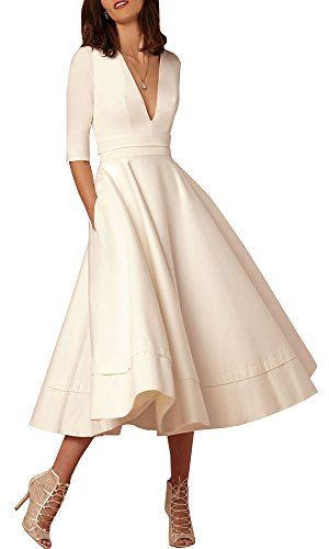 Deep Evening V Neck Dress Elegant Ruched Waist Retro Half Waist Classy Women's High Apricot Sleeve Allonly wtOEgg