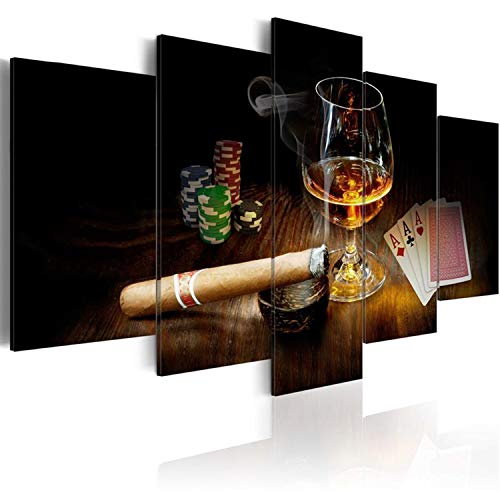 AWLXPHY Decor- Cigars Cup Poker Wall Art Canvas Painting Set Framed 5 Panels for Poker Room Decor Modern Liquor Canvas Stretched Artwork Giclee (Black, W60 x H30) ()