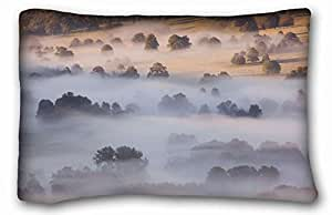 Custom Cotton & Polyester Soft Nature Custom Cotton & Polyester Soft Rectangle Pillow Case Cover 20x30 inches (One Side) suitable for Queen-bed