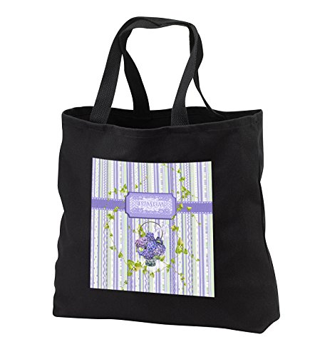 Beverly Turner Mothers Day Design - I Love Mum, Hydrangea Flower in Basket, Leaves Accent Trim Background - Tote Bags - Black Tote Bag JUMBO 20w x 15h x 5d (tb_282059_3)