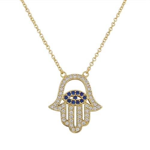 Yellow Gold Hamsa Pendant (925 Sterling Silver Yellow Gold Evil Eye Hamsa White Blue CZ Womens Pendant Necklace)