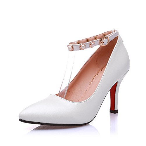 Pumps 33 Shoes Women's Ornament Bead White Heels and Kitten WeenFashion with Pointed Toe Metal PU x0YwBwnCq6