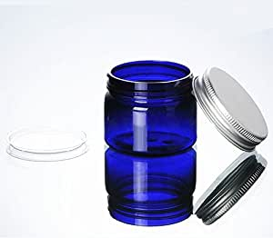 Blue 1.76 oz PET Jar w/aluminum cover with PVC mat 20pk Mini Jar
