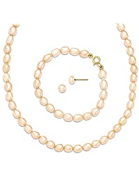 IceCarats 14k Yellow Gold Pink Freshwater Cultured Pearl 14 Chain Necklace 5 Bracelet Earrings Set