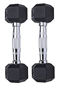 Gymenist Set of 2 Hex Rubber Dumbbell with Metal Handles, Pair of 2 Heavy Dumbbell (5 Lb)