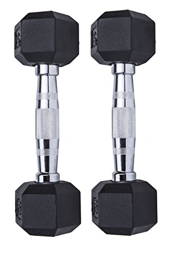 GYMENIST Set of 2 Hex Rubber Dumbbell with Metal Handles, Pair of 2 Heavy Dumbbell (5 Lb) by GYMENIST (Image #2)