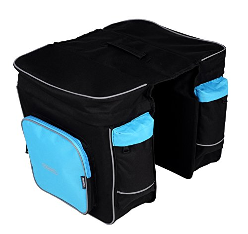 Roswheel Bike Bicycle Rear Seat Rack Double Panniers Cargo Trunk Bag, Black/Blue ()