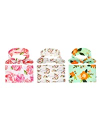 Newborn Baby Floral Print Receiving Blankets and Hair Bow Headbands Set (3 Pack) (Pink, White & Green)