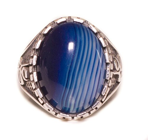 Falcon Jewelry Men's Sterling Silver Ring, 15-20 Stone Size mm, Natural Blue-Agate Gemstone, Handmade Ring, Solid Sterling Silver Men Ring