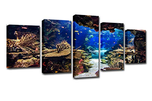 WINSEN HD Printed 5 Piece Canvas Art Underwater Sea Fish Coral Reefs Canvas Print Room Decor Wall Poster Picture