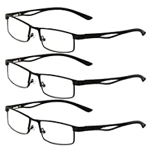 Zhhlinyuan 3 Pairs of Classic Retro Men and Women Presbyopia Degree Reading Glasses