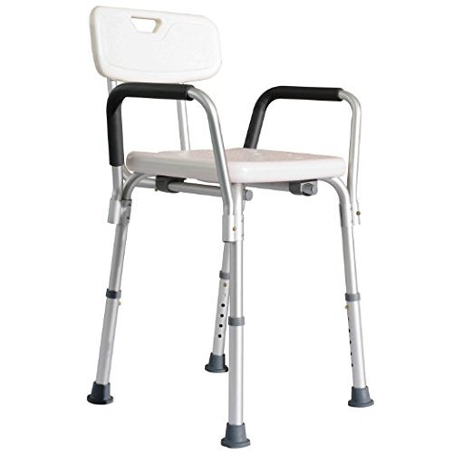 Adjustable Shower Riser - HomCom Adjustable Medical Shower Seat Bath Chair w/Arms and Backrest