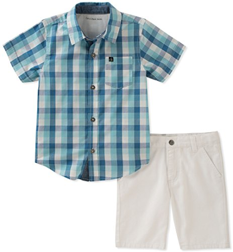 Calvin Klein Boys' Big 2 Pieces Shirt Shorts Set, Blue/White, 8 ()