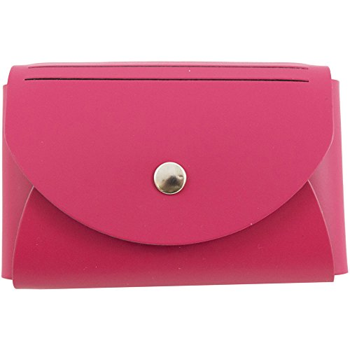 JAM Paper Italian Leather Snap Business Card Case with Round Flap - 2 1/4