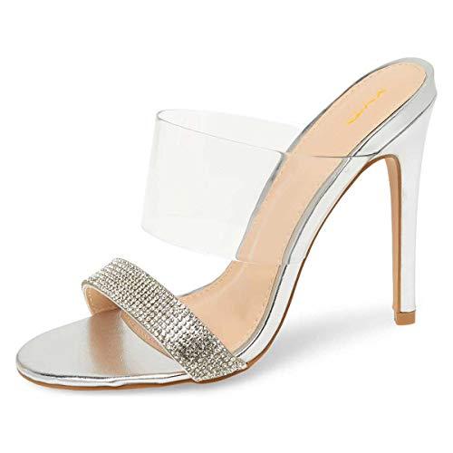 (XYD Women Open Toe Rhinestones Studded Summer Clear PVC High Heels Slide Sandals Dress Shoes Size 9 Silver)