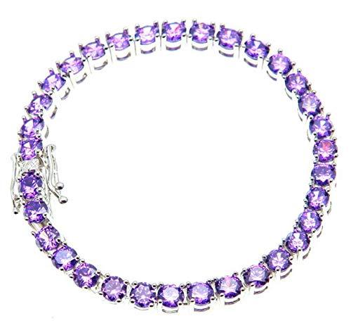 Lavender Purple Red Black Color Stone 3mm/4mm Round Cut Multi-Color Tennis Bracelet Chain Exquisite,Purple Silver,4mm